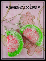 Sour Watermelon Earrings by monsterkookies
