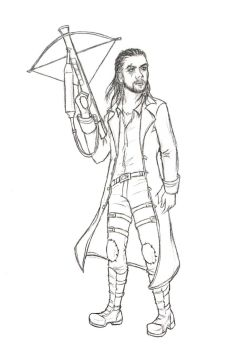 Jason Momoa with a crossbow by darkaholic