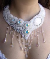 White peacock necklace view by gbdreams