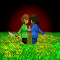 Chara and Frisk by tragicallyhipster