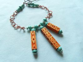 NECKLACE with THREE PENDANTS  and TURQUOISE STONES by MassoGeppetto