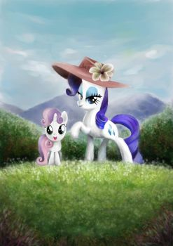 Rarity and Sweetie Belle by TszFungDavidWong
