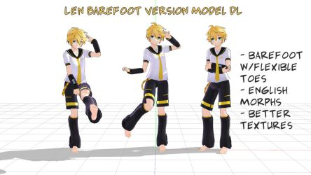 Kagamine Len w/flexible toes model download by ley-line-walker