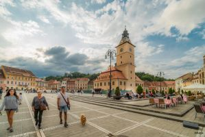 People and dog in Brashov by Rikitza