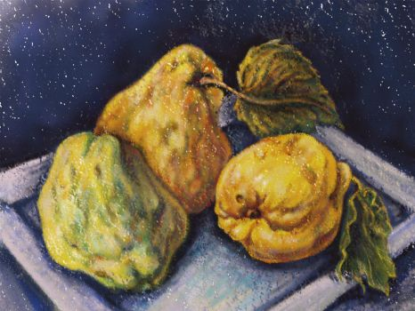 A Digital Pastel Sketch Of Three Quinces by digit-Ds