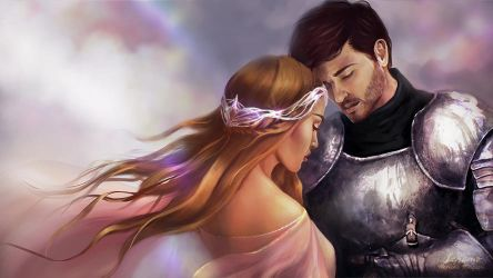 Commission: Princess and her Knight by LenamoArt