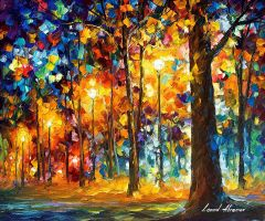 Trees In The Park by Leonid Afremov by Leonidafremov