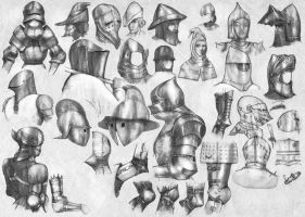 Medieval helmets and articulated joints (2) by Nomatterwhat1984