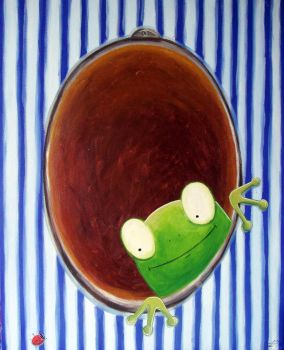 a portrait of a friendly frog by Adnil