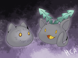 White versions Botamon and Beta Hoppip by ChibiAbsol