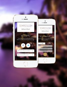Login and Register mobile app screen for free by tempeescom