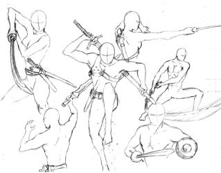 Action Poses 7 - Swords by shinsengumi77