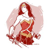 Gal Gadot Wonder Woman sketch by AndrewKwan