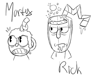 Cuphead/ Rick and Morty crossover by Glitched-Irken