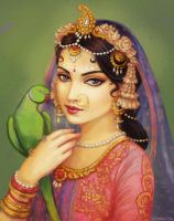 Radha and Her Parrot by Nila-Vanwolf