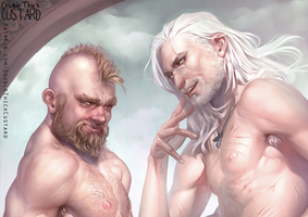 Geralt and Zoltan by Doublethickcustard
