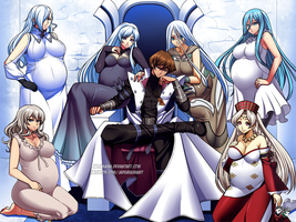 COMMISSION : Seto Kaiba's Preggy Harem by jadenkaiba