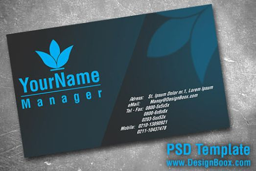 Gray and Blue Business Card PSD by MansyDesignTools