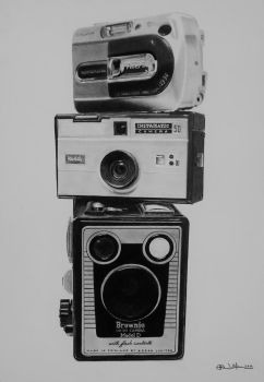 Three Generations of Camera in Pencil by Steve2656