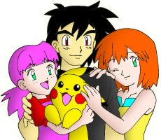 Ash, Misty, their daughter and Pikachu (In Color) by streetgals9000