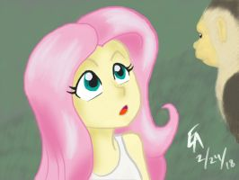 Fluttershy and Capuchin monkey  by mayorlight