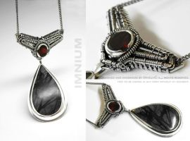 Black jasper and garnet necklace by IMNIUM