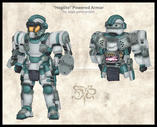 COMMISSION: 'Hoplite' Powered Armor by Great-5