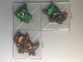 #610-#612 Axew Family Perlers by TehMorrison
