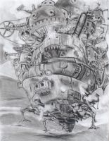 howl's moving castle charcoal by wavemstrelk
