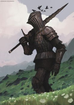 Rusty giant Knight from the hills of something by EdwardDelandreArt