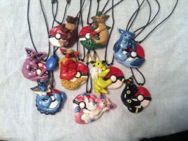 Eevee Evolution Necklace Commission by LittleBachman