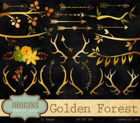 Golden Forest Clipart - Antlers, Branches, Arrows by DigitalCurio