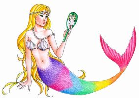 rainbow colored mermaid by hananovie
