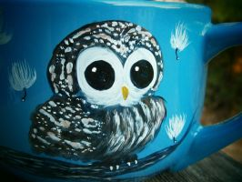Blue Owl latte/soup mug by InkyDreamz