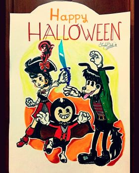 Halloween Bendy and friends poster by gmRetrolatebloomer