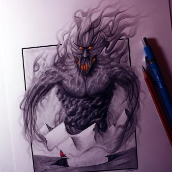 Smoke Giant Drawing by LethalChris