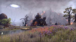 ESO Argonian Hut with Volcano and Portal by Kohlheppj13