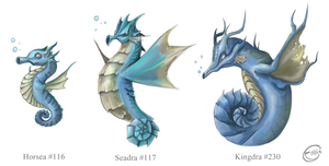 Horsea, Seadra and Kingdra by Zafrean