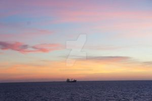 Lonely ship, rainbow sky by Ideas-in-the-sky