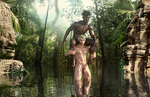 Tarzan and Dembe have fun in the water by achillias-da