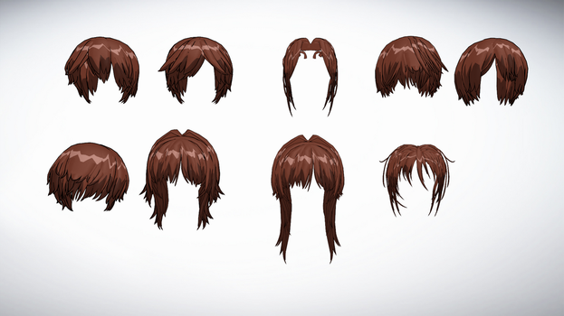 MMD Front Hair Pack 7 by amiamy111
