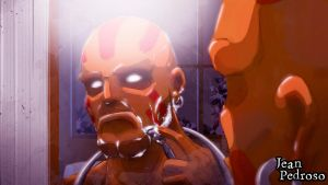 Dhalsim shaving by unforgivenarts