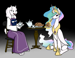Toriel and Celestia.... by Inkwell-Pony