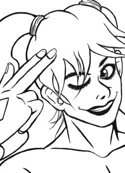 Harley Quinn (LineArt) by ulrich5000