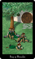 The Vulpine Tarot - Four of Pentacles by Mabon-Tail