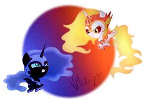*~SPOLIER~* Chibi Nightmare Moon And Daybreaker by vcm1824