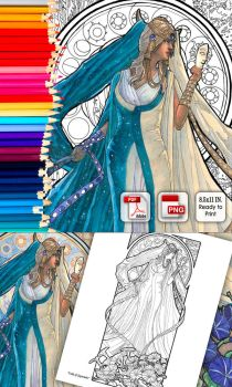 Coloring Page - Lady of September by AngelaSasser