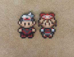 Brendan + May - Pokemon Perler Bead Sprite Set by MaddogsCreations