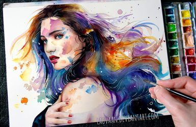 Watercolor Portrait - Wash Away +Video by Laovaan