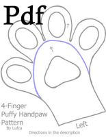 Pdf version 4 Finger Puffy/Toony Handpaw Pattern by Lufca